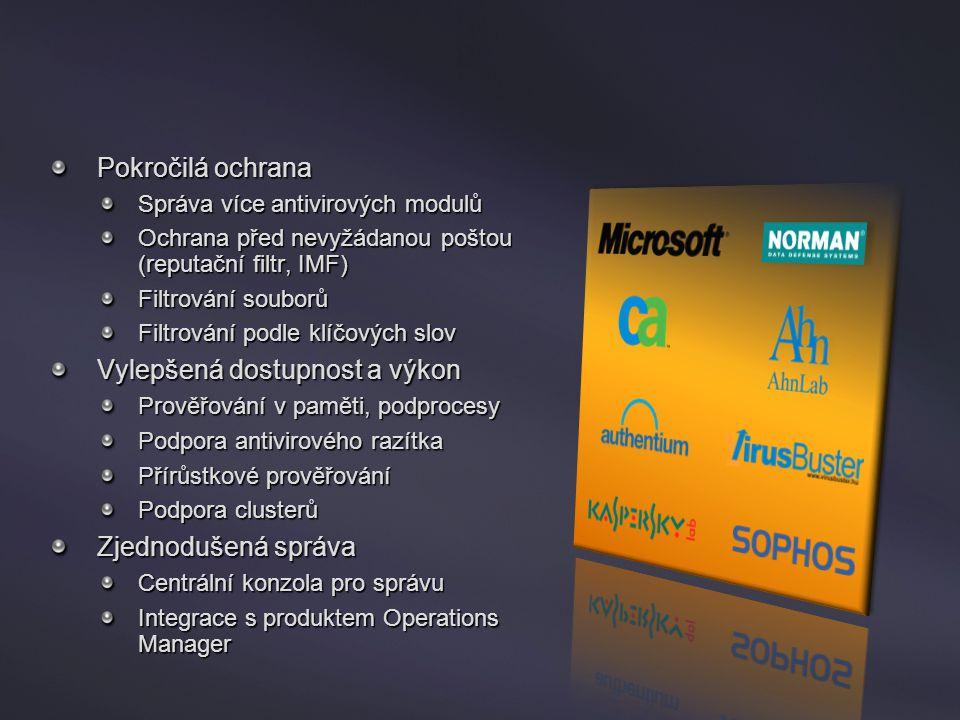 Forefront Security for Exchange Server Pokročilá ochrana Správa více antivirových modulů Ochrana před nevyžádanou poštou (reputační filtr, IMF) Filtro