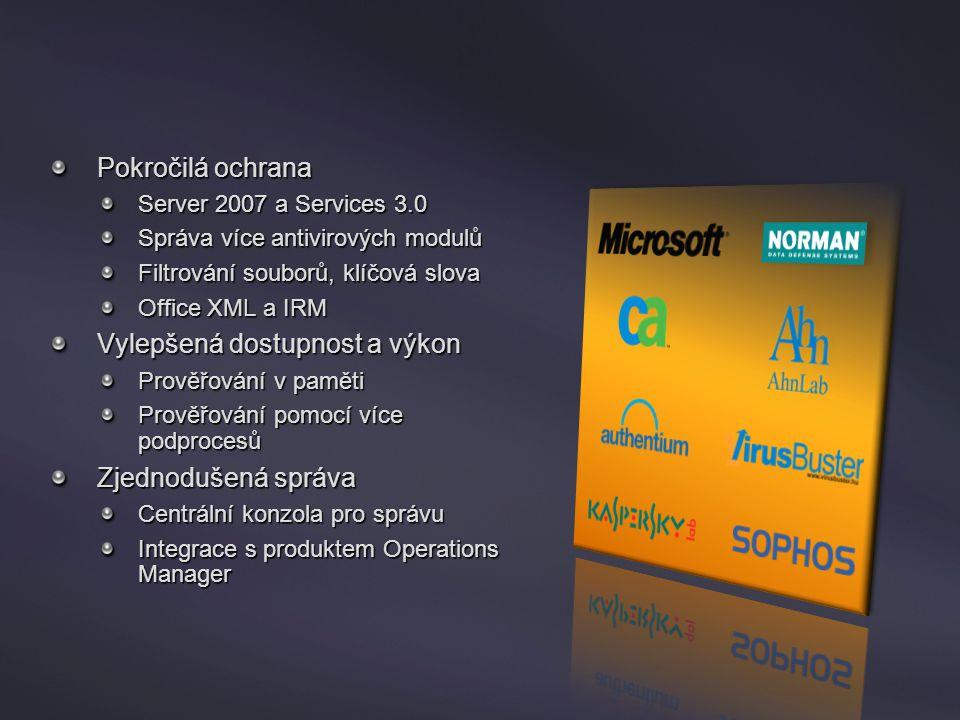 Forefront Security for Sharepoint Pokročilá ochrana Server 2007 a Services 3.0 Správa více antivirových modulů Filtrování souborů, klíčová slova Offic