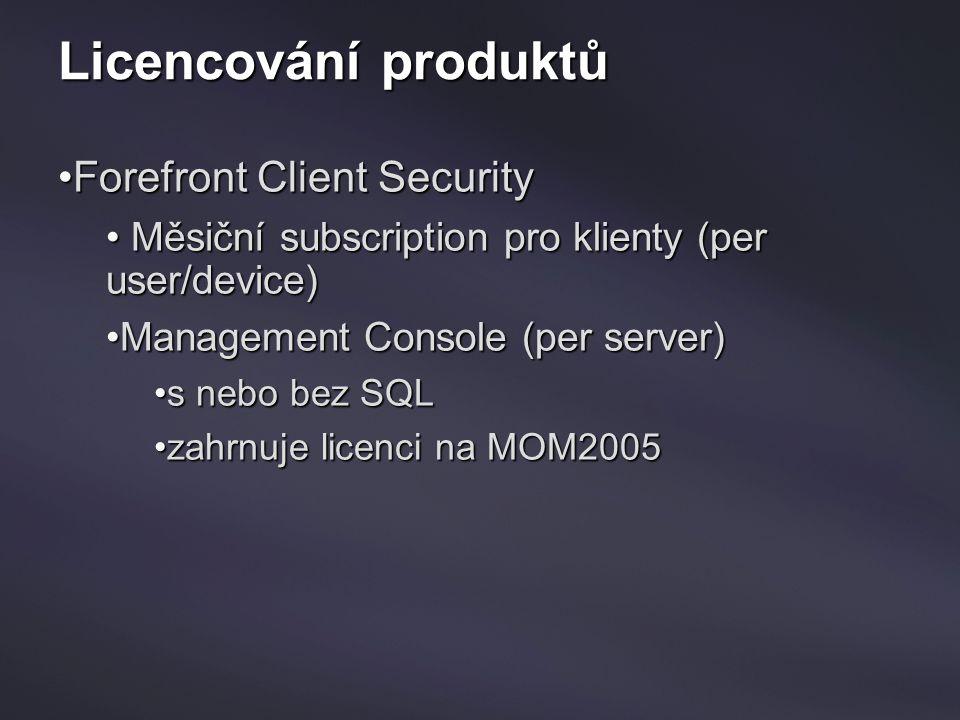 Licencování produktů Forefront Client SecurityForefront Client Security Měsiční subscription pro klienty (per user/device) Měsiční subscription pro kl