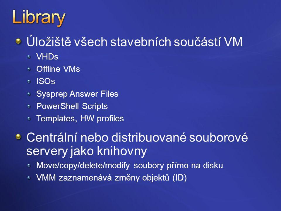Úložiště všech stavebních součástí VM VHDs Offline VMs ISOs Sysprep Answer Files PowerShell Scripts Templates, HW profiles Centrální nebo distribuované souborové servery jako knihovny Move/copy/delete/modify soubory přímo na disku VMM zaznamenává změny objektů (ID)
