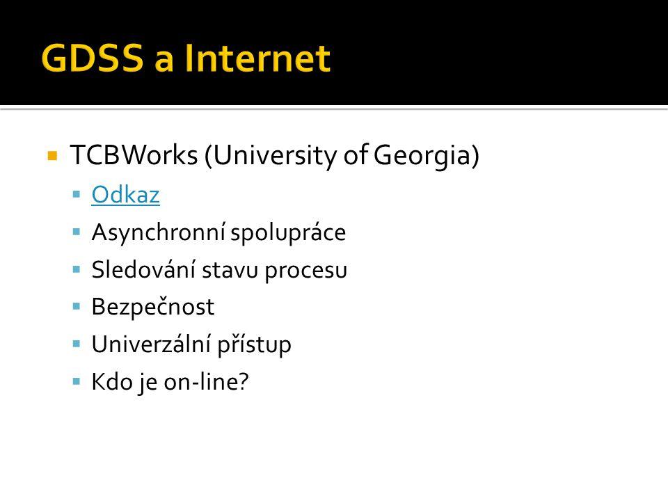  TCBWorks (University of Georgia)  Odkaz Odkaz  Asynchronní spolupráce  Sledování stavu procesu  Bezpečnost  Univerzální přístup  Kdo je on-line