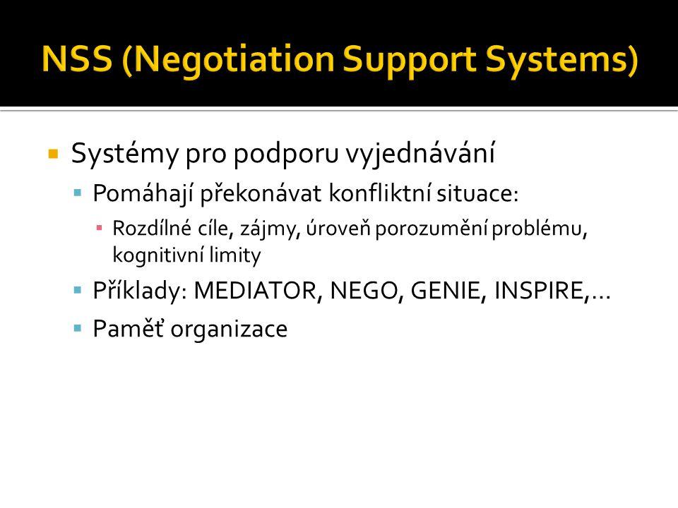  Systémy pro podporu vyjednávání  Pomáhají překonávat konfliktní situace: ▪ Rozdílné cíle, zájmy, úroveň porozumění problému, kognitivní limity  Příklady: MEDIATOR, NEGO, GENIE, INSPIRE,…  Paměť organizace
