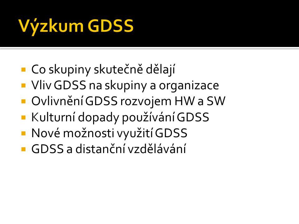  Co skupiny skutečně dělají  Vliv GDSS na skupiny a organizace  Ovlivnění GDSS rozvojem HW a SW  Kulturní dopady používání GDSS  Nové možnosti využití GDSS  GDSS a distanční vzdělávání