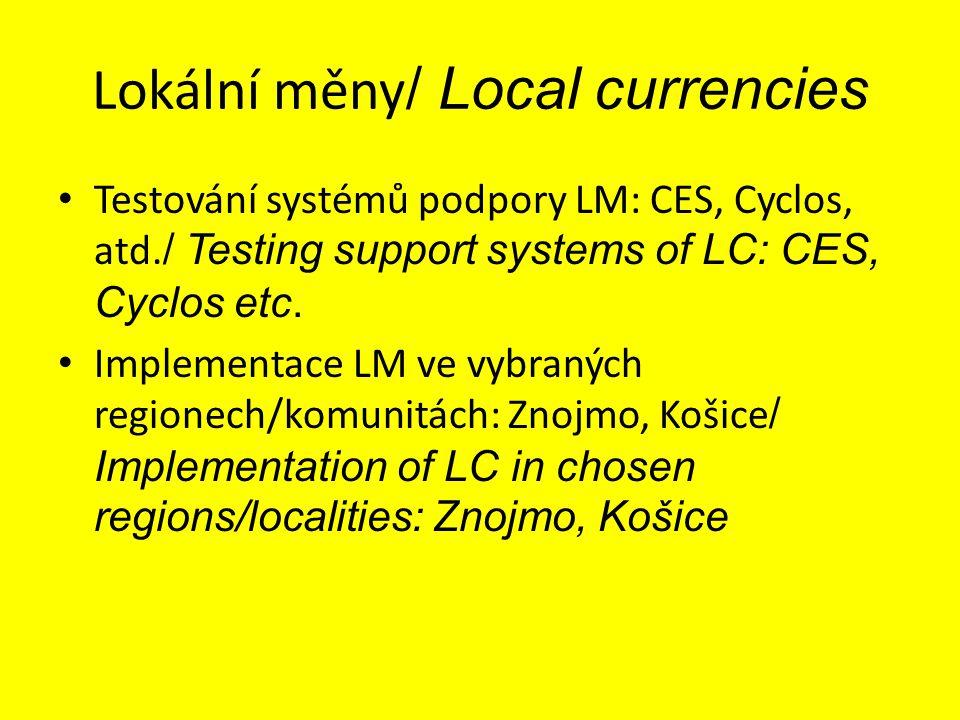 Lokální měny / Local currencies Testování systémů podpory LM: CES, Cyclos, atd. / Testing support systems of LC: CES, Cyclos etc. Implementace LM ve v