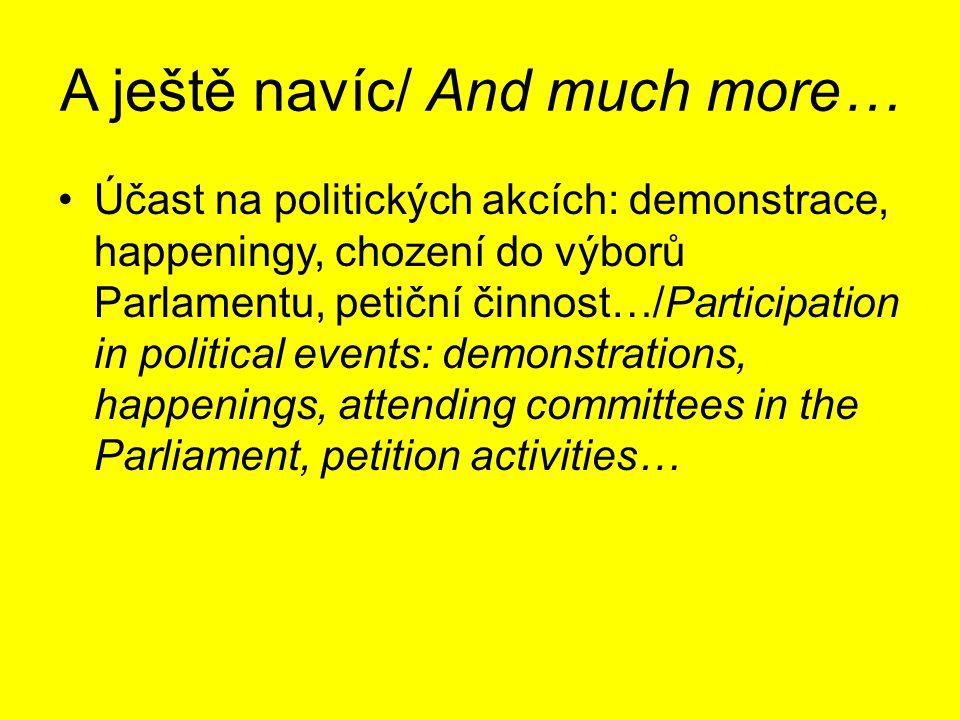 A ještě navíc/ And much more… Účast na politických akcích: demonstrace, happeningy, chození do výborů Parlamentu, petiční činnost…/Participation in po