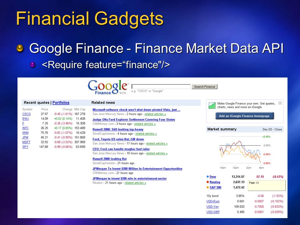 Financial Gadgets Google Finance - Finance Market Data API
