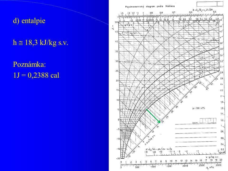d)entalpie h  18,3 kJ/kg s.v. Poznámka: 1J = 0,2388 cal