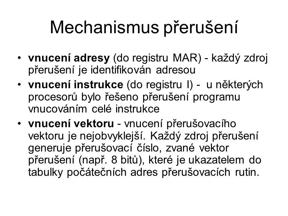 Mechanismus přerušení vnucení adresy (do registru MAR) - každý zdroj přerušení je identifikován adresou vnucení instrukce (do registru I) - u některýc
