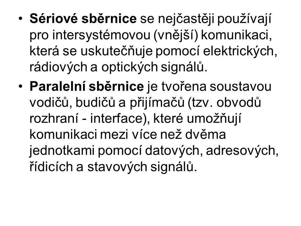 Sériové sběrnice se nejčastěji používají pro intersystémovou (vnější) komunikaci, která se uskutečňuje pomocí elektrických, rádiových a optických sign