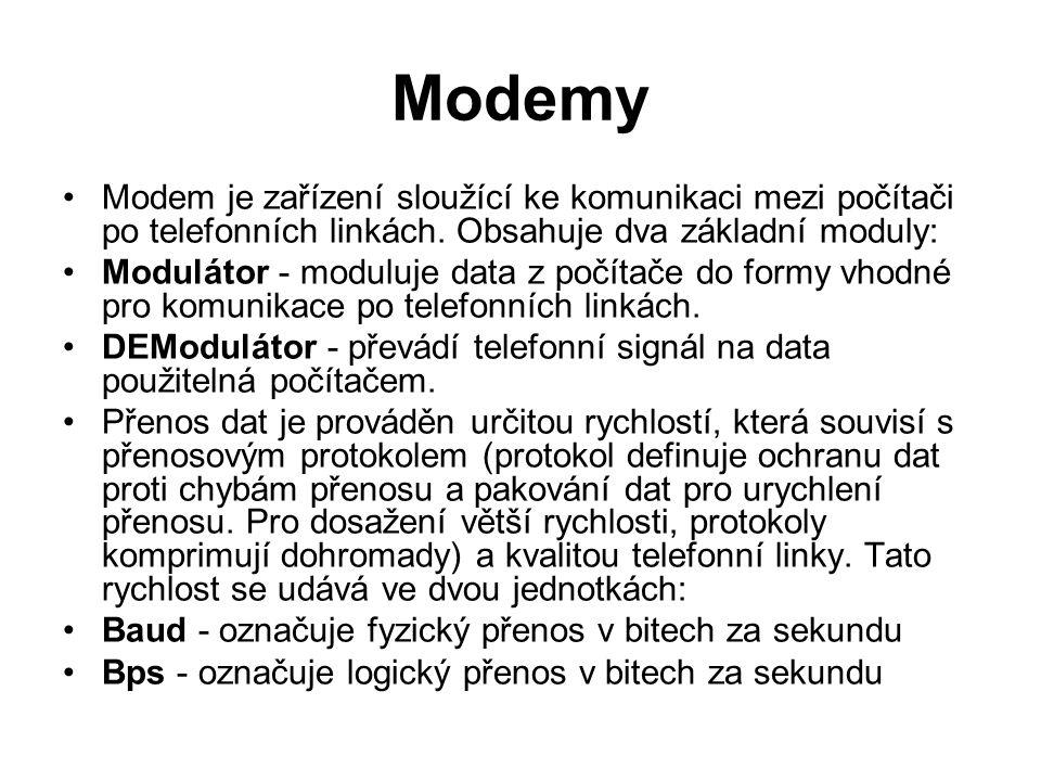 Modemy Modem je zařízení sloužící ke komunikaci mezi počítači po telefonních linkách. Obsahuje dva základní moduly: Modulátor - moduluje data z počíta