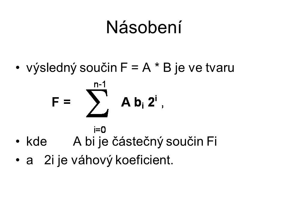 výsledný součin F = A * B je ve tvaru kde A bi je částečný součin Fi a2i je váhový koeficient.