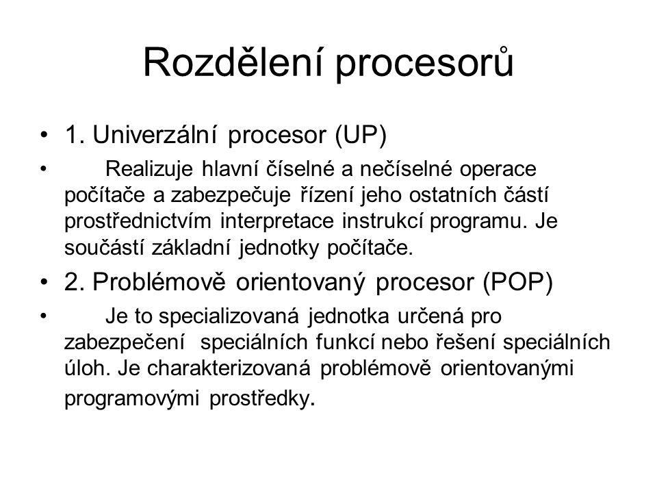 Rozdělení procesorů 1.