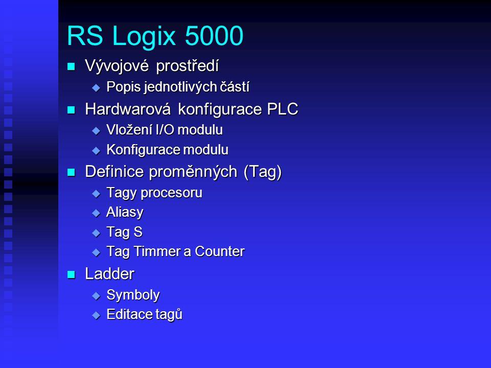 RS Logix 5000 n Vývojové prostředí u Popis jednotlivých částí n Hardwarová konfigurace PLC u Vložení I/O modulu u Konfigurace modulu n Definice proměn