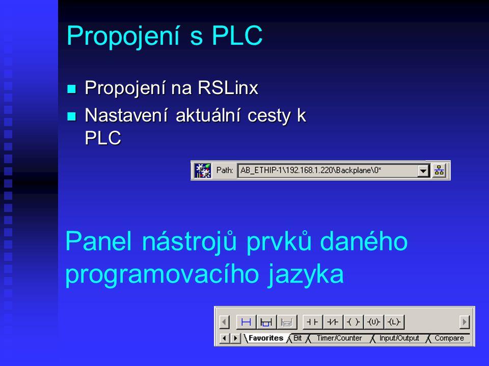 Propojení s PLC n Propojení na RSLinx n Nastavení aktuální cesty k PLC Panel nástrojů prvků daného programovacího jazyka