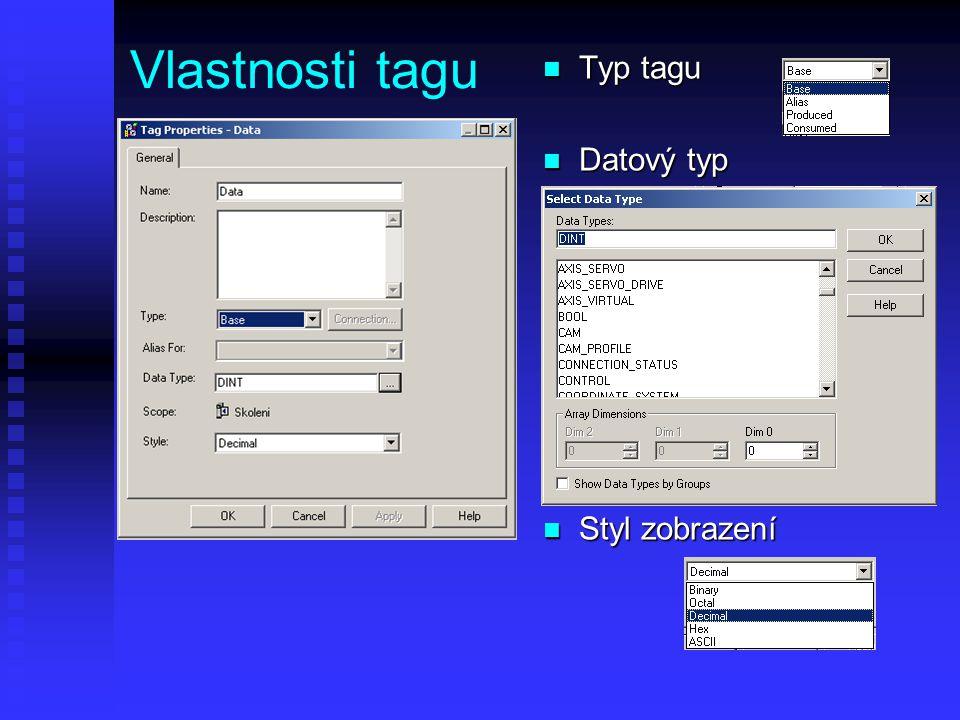 Vlastnosti tagu n Typ tagu n Datový typ n Styl zobrazení