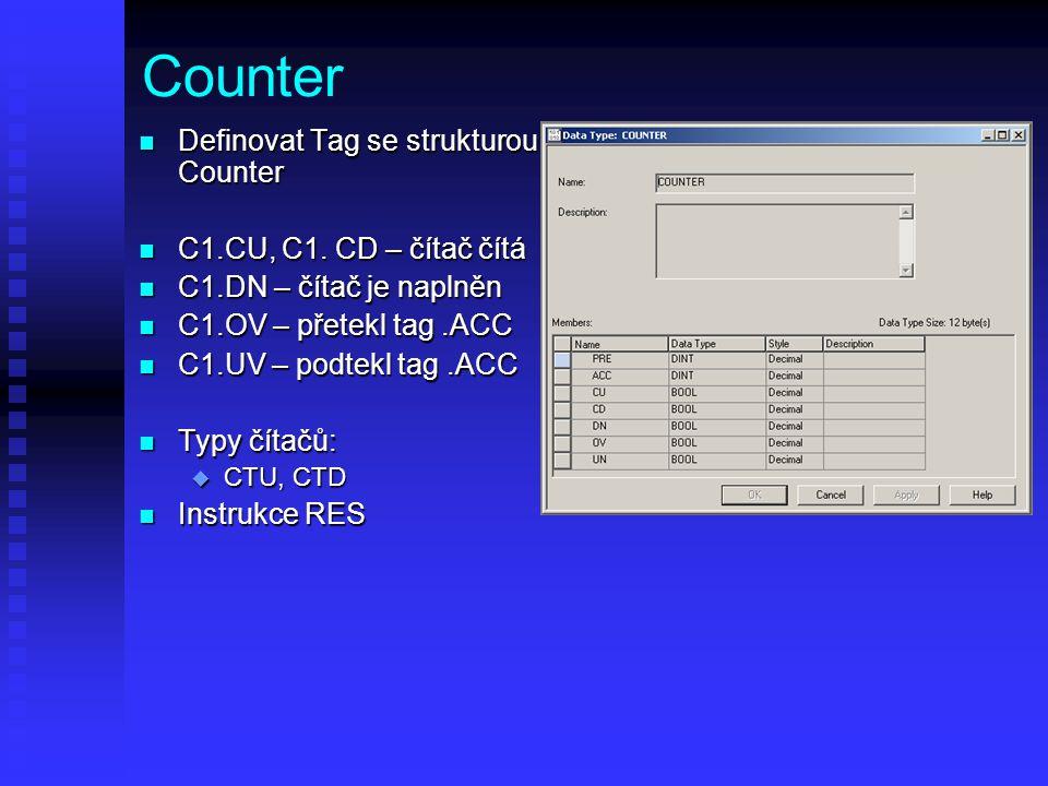 Counter n Definovat Tag se strukturou Counter n C1.CU, C1. CD – čítač čítá n C1.DN – čítač je naplněn n C1.OV – přetekl tag.ACC n C1.UV – podtekl tag.