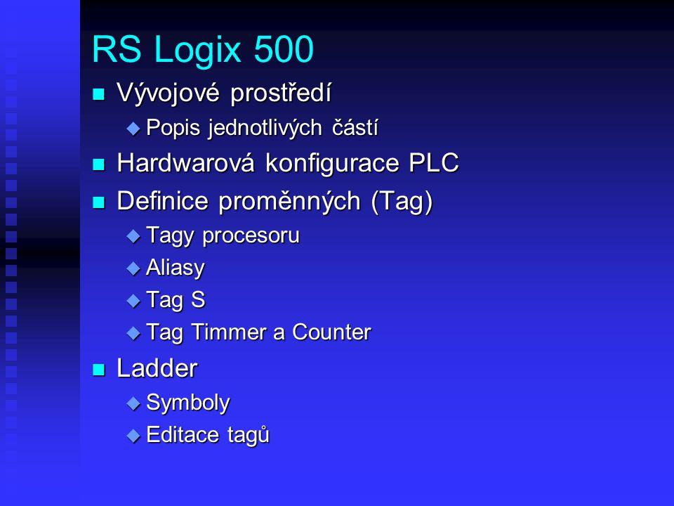 RS Logix 500 n Vývojové prostředí u Popis jednotlivých částí n Hardwarová konfigurace PLC n Definice proměnných (Tag) u Tagy procesoru u Aliasy u Tag