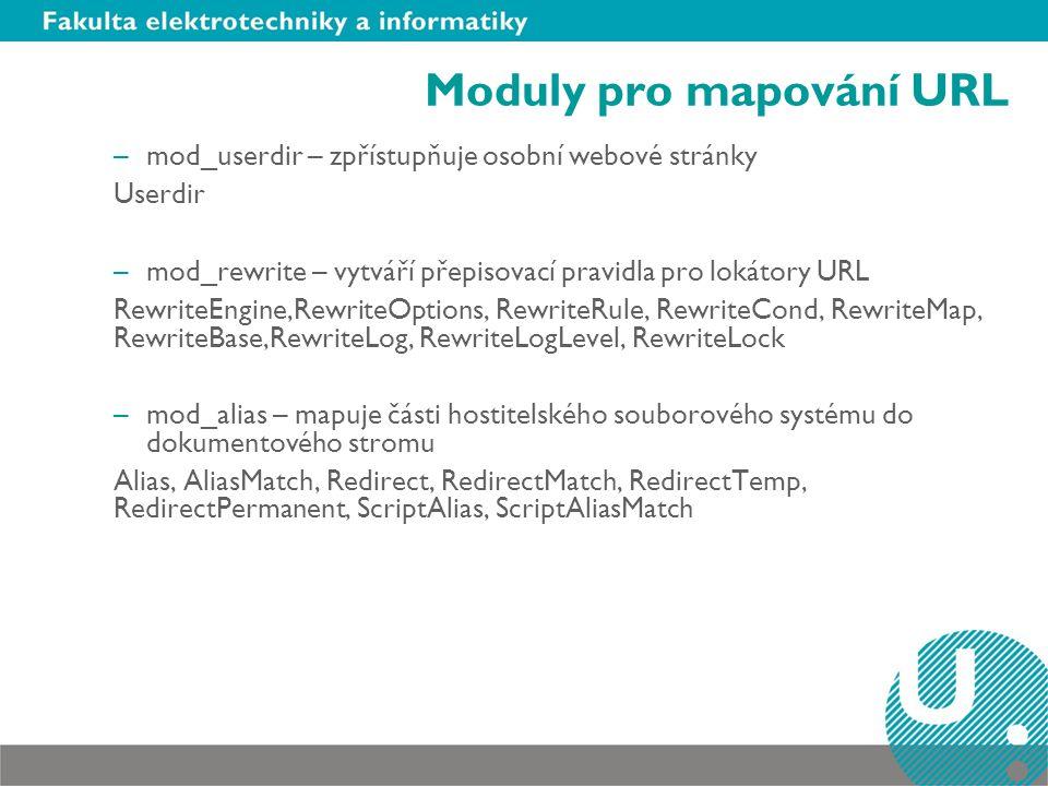 Moduly pro mapování URL –mod_userdir – zpřístupňuje osobní webové stránky Userdir –mod_rewrite – vytváří přepisovací pravidla pro lokátory URL Rewrite