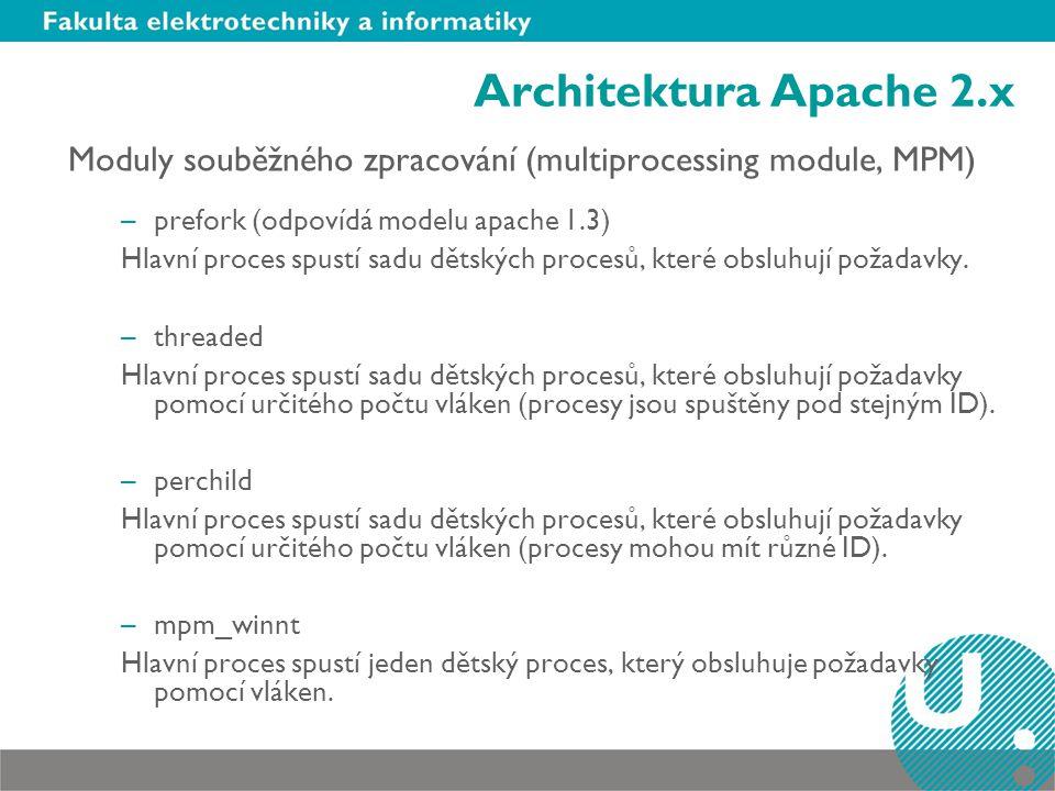 Architektura Apache 2.x Moduly souběžného zpracování (multiprocessing module, MPM) –prefork (odpovídá modelu apache 1.3) Hlavní proces spustí sadu dět