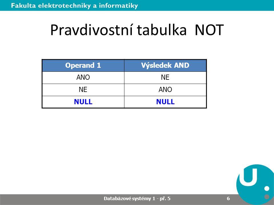 Pravdivostní tabulka NOT Operand 1Výsledek AND ANONE ANO NULL Databázové systémy 1 - př. 5 6
