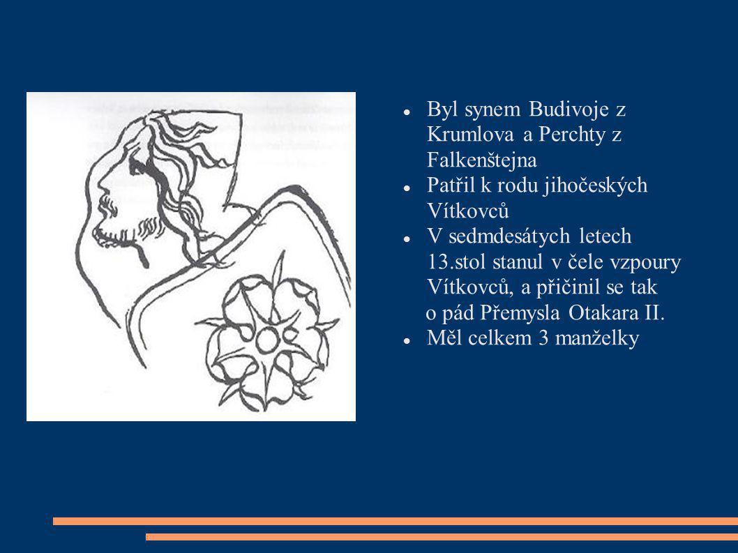 Byl synem Budivoje z Krumlova a Perchty z Falkenštejna Patřil k rodu jihočeských Vítkovců V sedmdesátych letech 13.stol stanul v čele vzpoury Vítkovců