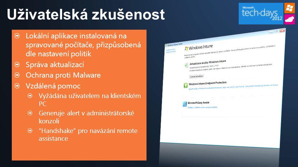 Lokální aplikace instalovaná na spravované počítače, přizpůsobená dle nastavení politik Správa aktualizací Ochrana proti Malware Vzdálená pomoc Vyžádá