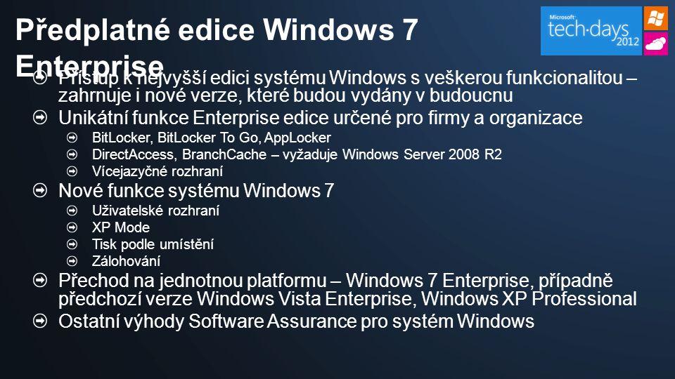 Přístup k nejvyšší edici systému Windows s veškerou funkcionalitou – zahrnuje i nové verze, které budou vydány v budoucnu Unikátní funkce Enterprise edice určené pro firmy a organizace BitLocker, BitLocker To Go, AppLocker DirectAccess, BranchCache – vyžaduje Windows Server 2008 R2 Vícejazyčné rozhraní Nové funkce systému Windows 7 Uživatelské rozhraní XP Mode Tisk podle umístění Zálohování Přechod na jednotnou platformu – Windows 7 Enterprise, případně předchozí verze Windows Vista Enterprise, Windows XP Professional Ostatní výhody Software Assurance pro systém Windows Předplatné edice Windows 7 Enterprise