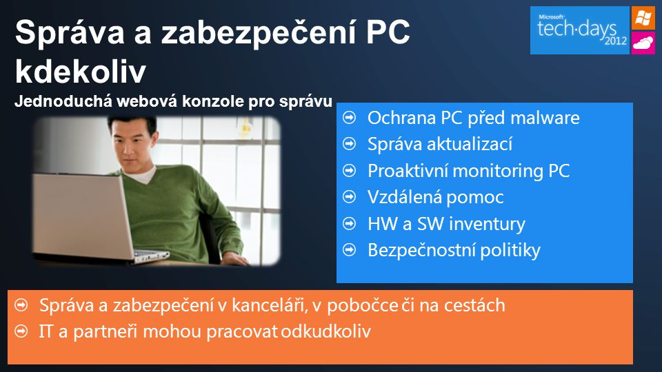 Správa a zabezpečení v kanceláři, v pobočce či na cestách IT a partneři mohou pracovat odkudkoliv Ochrana PC před malware Správa aktualizací Proaktivn