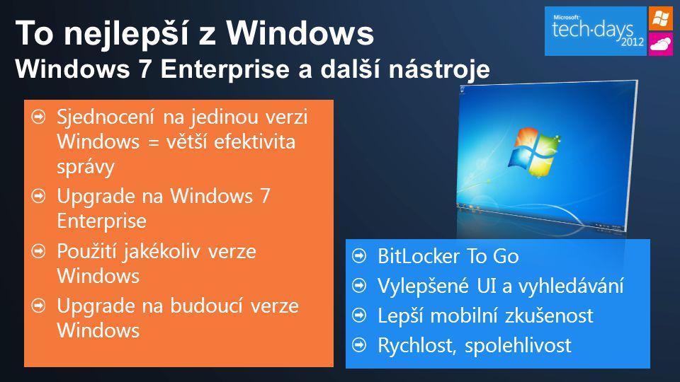 Sjednocení na jedinou verzi Windows = větší efektivita správy Upgrade na Windows 7 Enterprise Použití jakékoliv verze Windows Upgrade na budoucí verze Windows BitLocker To Go Vylepšené UI a vyhledávání Lepší mobilní zkušenost Rychlost, spolehlivost To nejlepší z Windows Windows 7 Enterprise a další nástroje