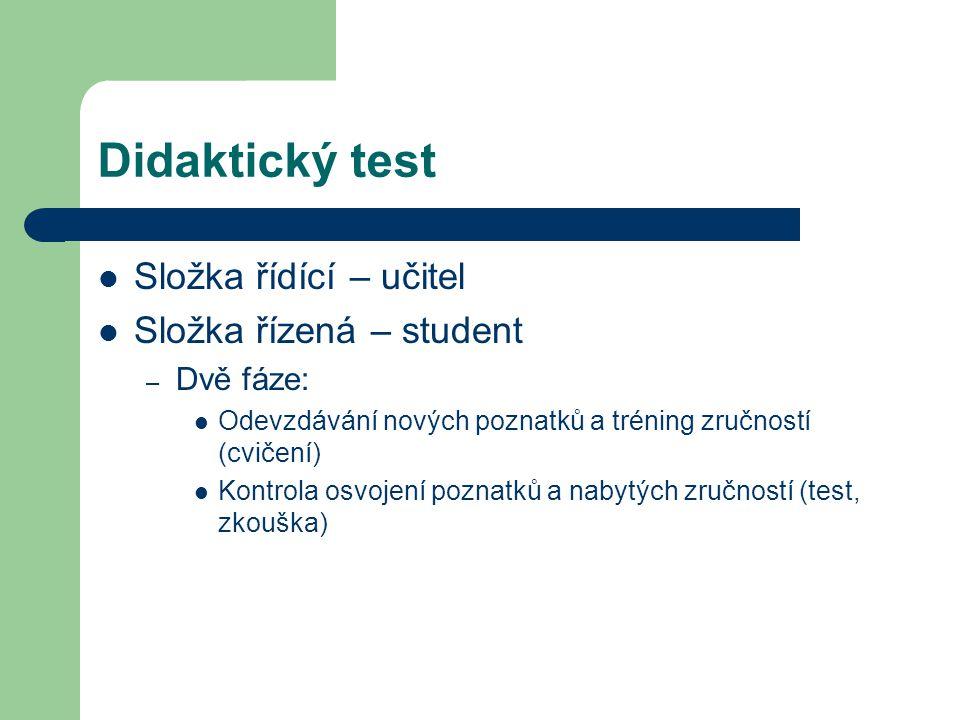 Didaktický test Složka řídící – učitel Složka řízená – student – Dvě fáze: Odevzdávání nových poznatků a tréning zručností (cvičení) Kontrola osvojení poznatků a nabytých zručností (test, zkouška)