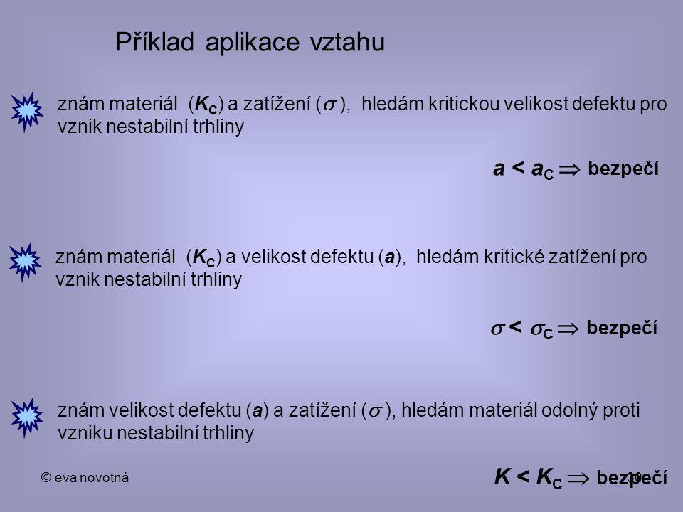 © eva novotná30 Příklad aplikace vztahu znám materiál (K C ) a zatížení (  ), hledám kritickou velikost defektu pro vznik nestabilní trhliny a < a C