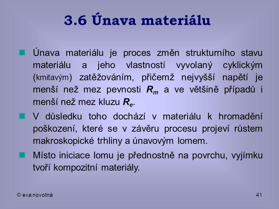 © eva novotná41 Únava materiálu je proces změn strukturního stavu materiálu a jeho vlastností vyvolaný cyklickým ( kmitavým ) zatěžováním, přičemž nej