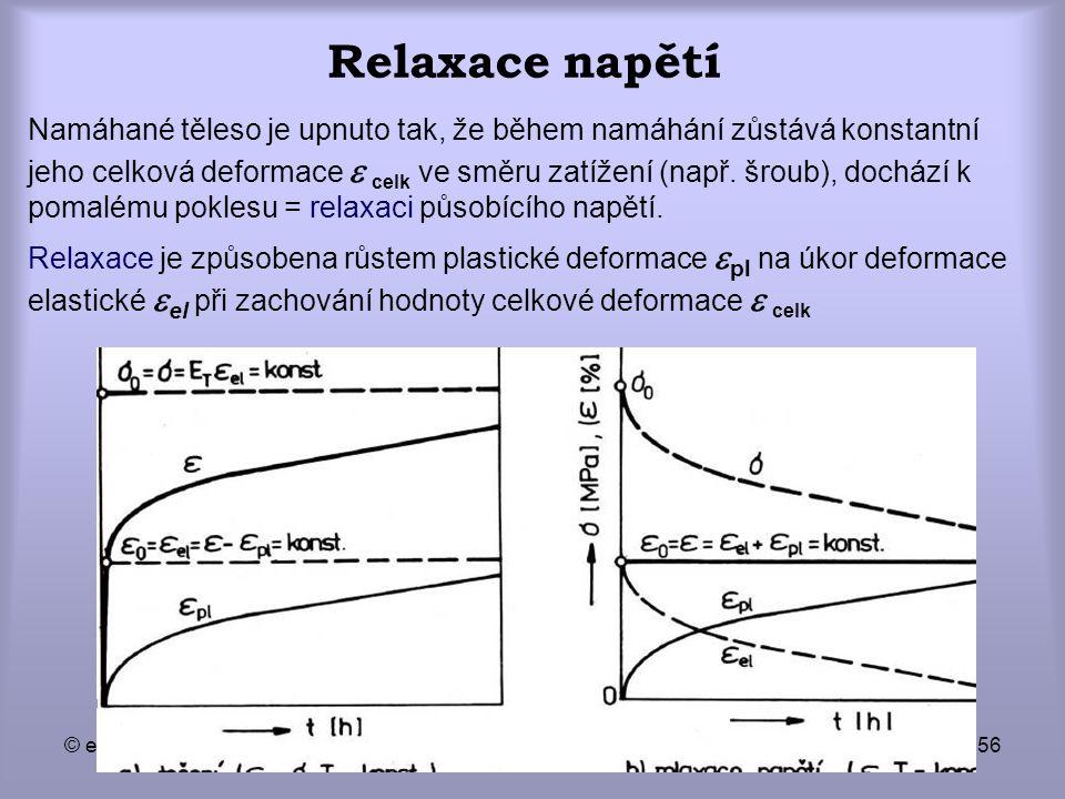 © eva novotná56 Relaxace napětí Namáhané těleso je upnuto tak, že během namáhání zůstává konstantní jeho celková deformace  celk ve směru zatížení (n
