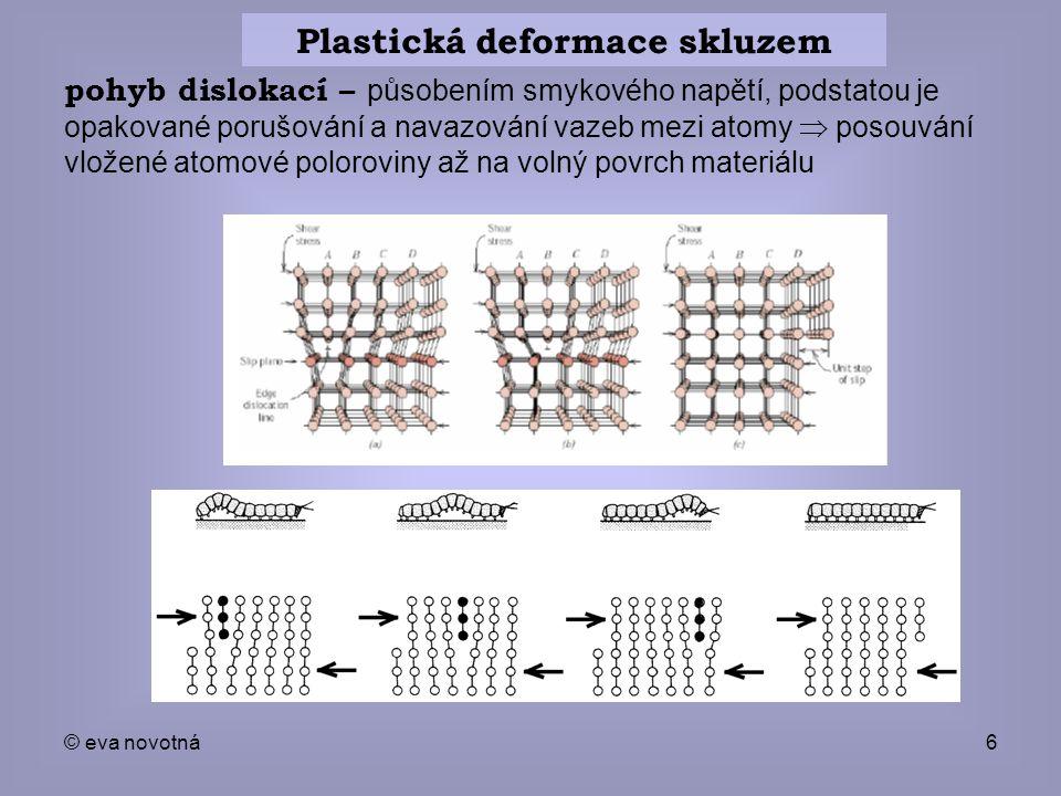 © eva novotná6 Plastická deformace skluzem pohyb dislokací – působením smykového napětí, podstatou je opakované porušování a navazování vazeb mezi ato