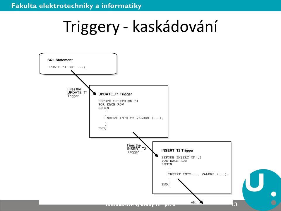 Triggery - kaskádování Databázové systémy II - př. 6 13