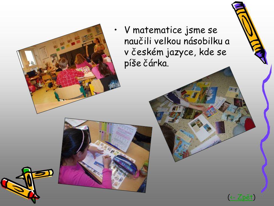 V matematice jsme se naučili velkou násobilku a v českém jazyce, kde se píše čárka.