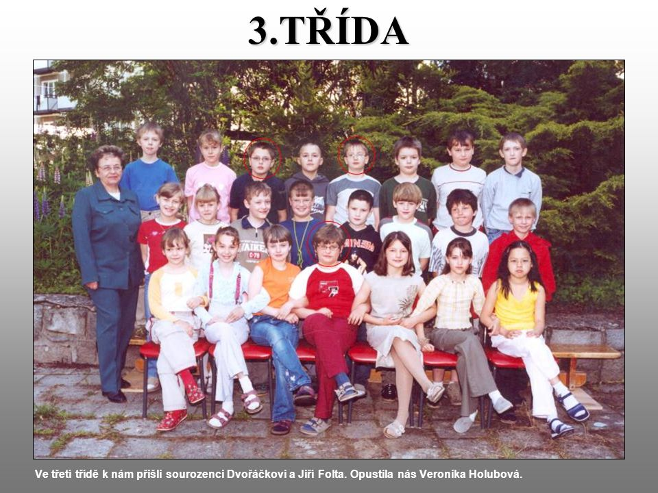 3.TŘÍDA Ve třetí třídě k nám přišli sourozenci Dvořáčkovi a Jiří Folta.