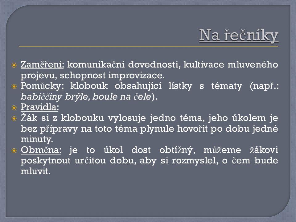  Zam ěř ení: komunika č ní dovednosti, kultivace mluveného projevu, schopnost improvizace.  Pom ů cky: klobouk obsahující lístky s tématy (nap ř.: b