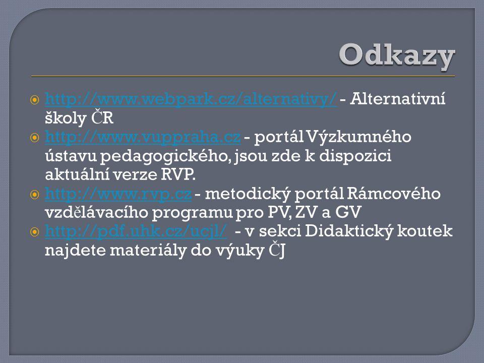  http://www.webpark.cz/alternativy/ - Alternativní školy Č R http://www.webpark.cz/alternativy/  http://www.vuppraha.cz - portál Výzkumného ústavu pedagogického, jsou zde k dispozici aktuální verze RVP.