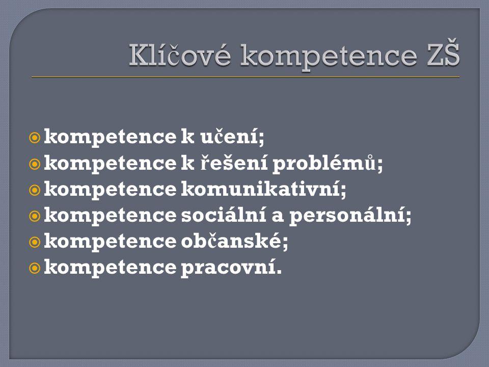  kompetence k u č ení;  kompetence k ř ešení problém ů ;  kompetence komunikativní;  kompetence sociální a personální;  kompetence ob č anské;  kompetence pracovní.