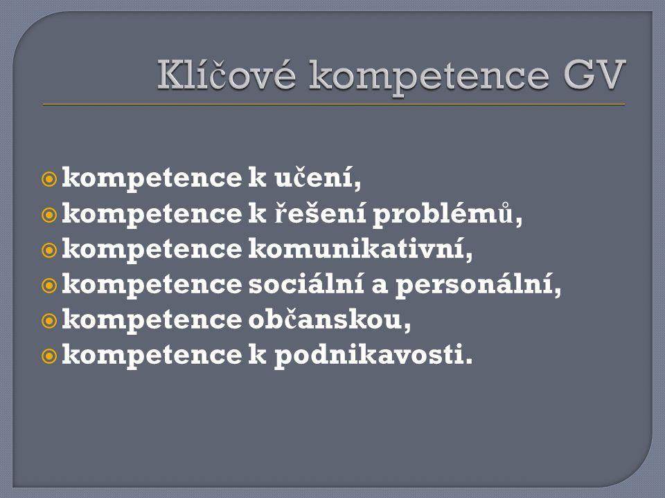  kompetence k u č ení,  kompetence k ř ešení problém ů,  kompetence komunikativní,  kompetence sociální a personální,  kompetence ob č anskou, 