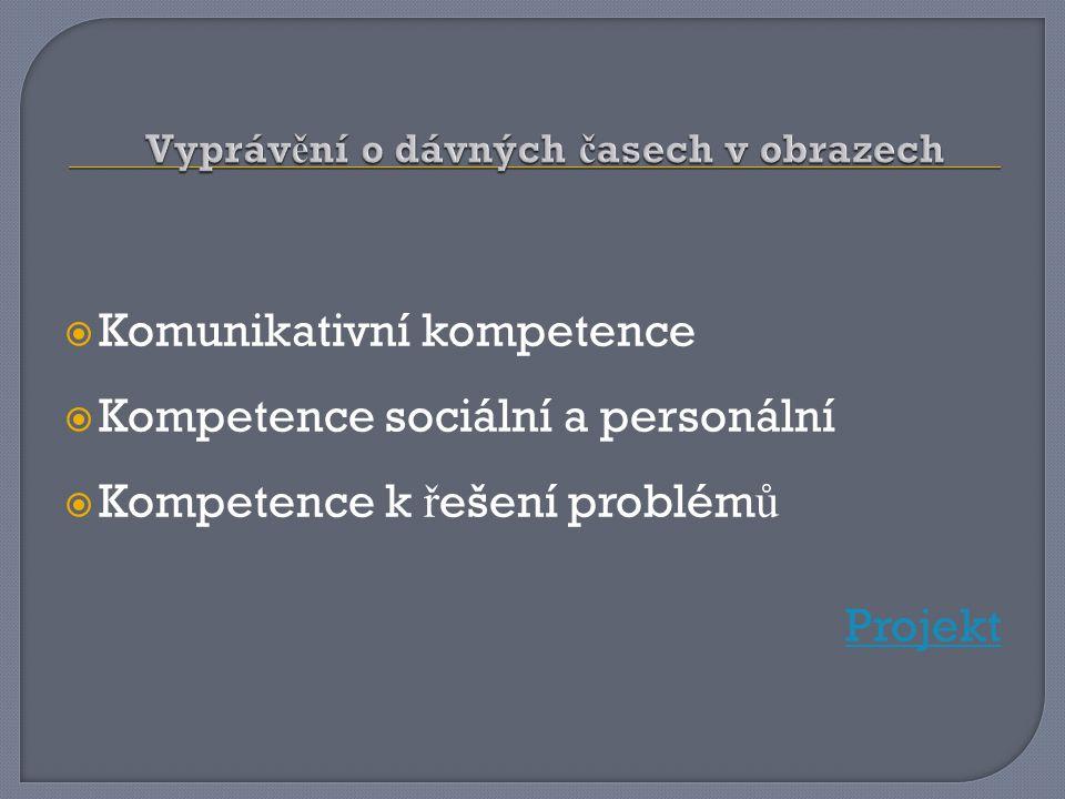  Komunikativní kompetence  Kompetence sociální a personální  Kompetence k ř ešení problém ů Projekt