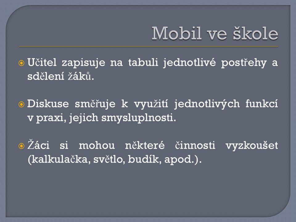  U č itel zapisuje na tabuli jednotlivé post ř ehy a sd ě lení ž ák ů.