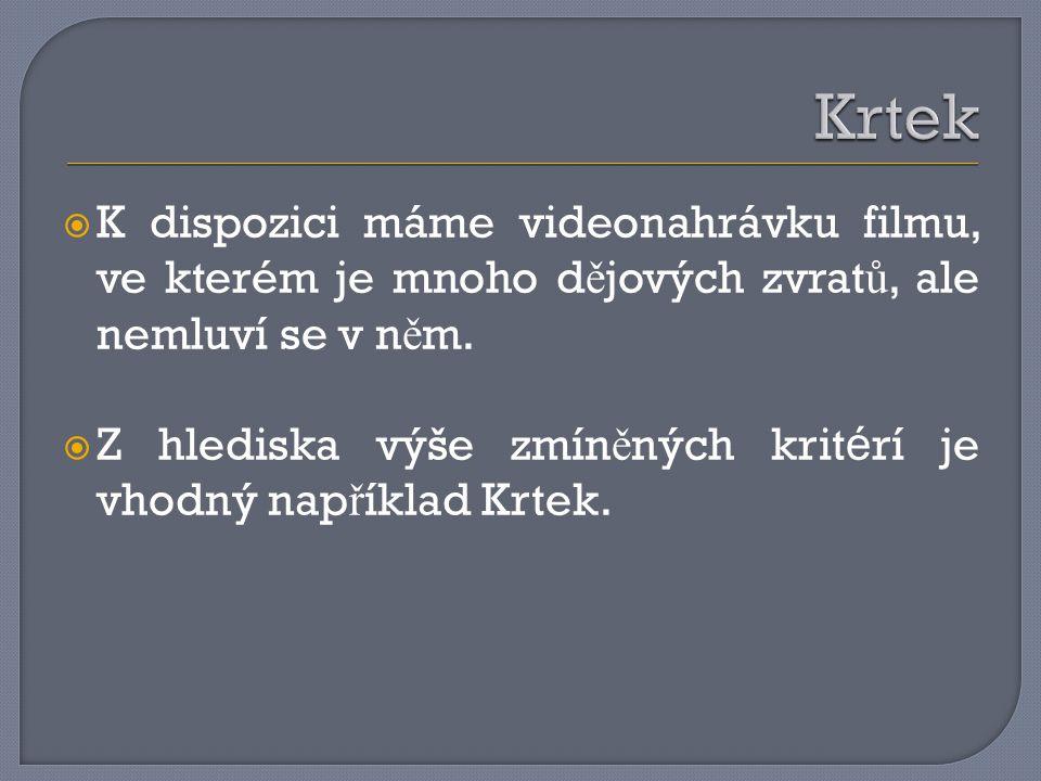  K dispozici máme videonahrávku filmu, ve kterém je mnoho d ě jových zvrat ů, ale nemluví se v n ě m.