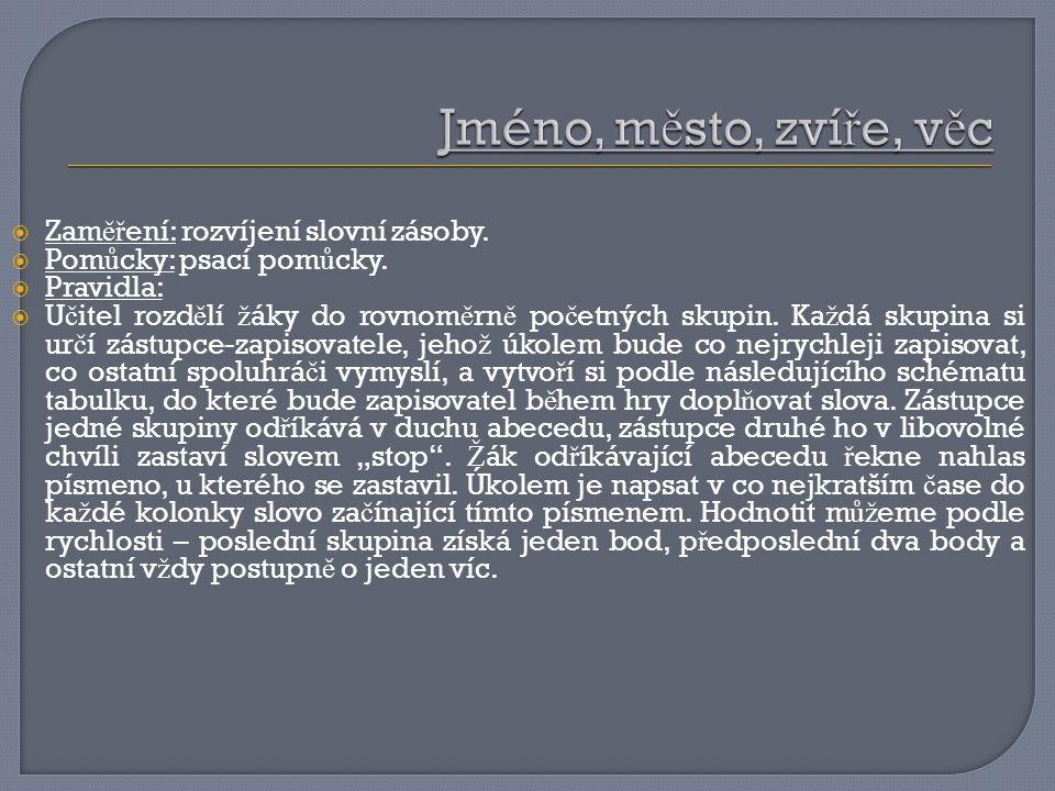  Zam ěř ení: rozvíjení slovní zásoby. Pom ů cky: psací pom ů cky.