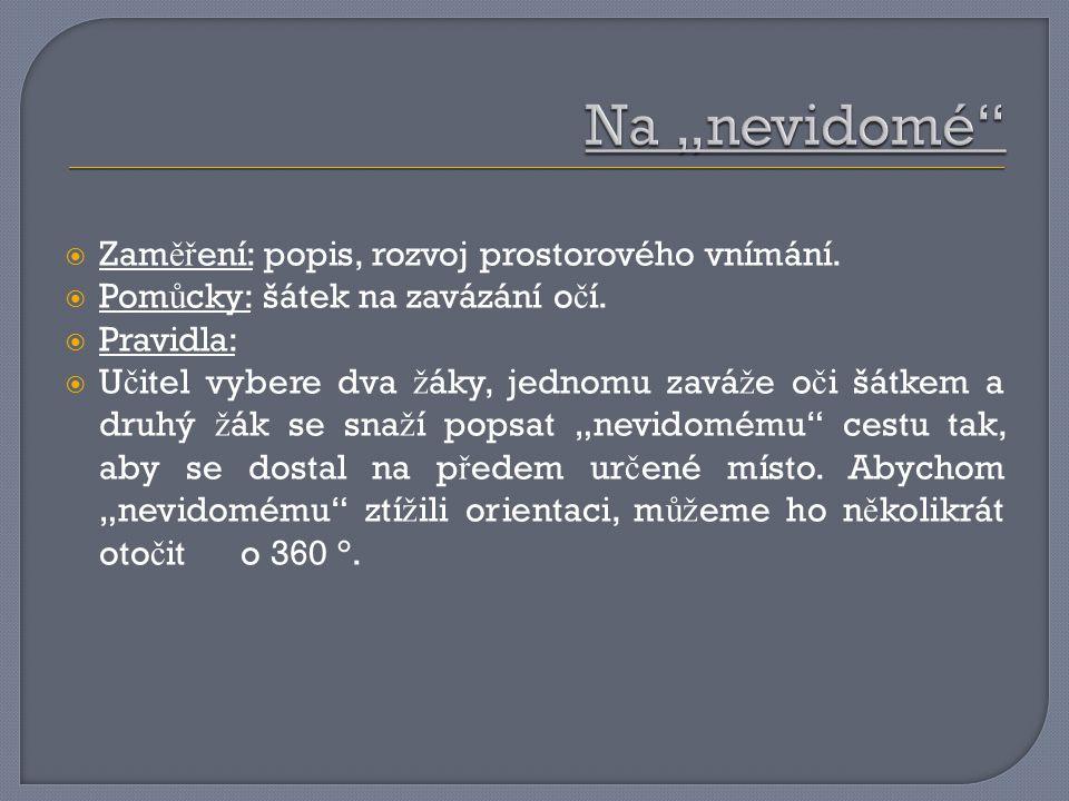  Zam ěř ení: popis, rozvoj prostorového vnímání. Pom ů cky: šátek na zavázání o č í.