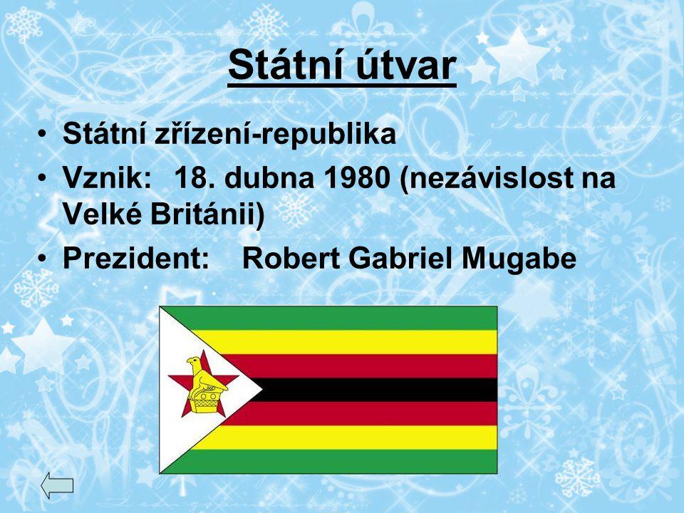 Státní útvar Státní zřízení-republika Vznik:18. dubna 1980 (nezávislost na Velké Británii) Prezident:Robert Gabriel Mugabe