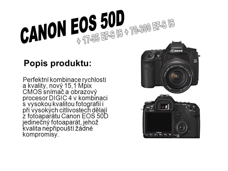 Popis produktu: Perfektní kombinace rychlosti a kvality, nový 15,1 Mpix CMOS snímač a obrazový procesor DIGIC 4 v kombinaci s vysokou kvalitou fotografií i při vysokých citlivostech dělají z fotoaparátu Canon EOS 50D jedinečný fotoaparát, jehož kvalita nepřipouští žádné kompromisy.