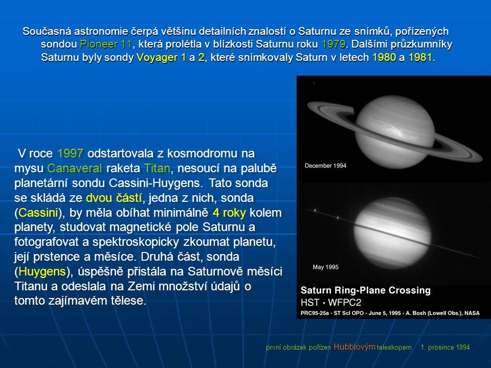 Současná astronomie čerpá většinu detailních znalostí o Saturnu ze snímků, pořízených sondou Pioneer 11, která prolétla v blízkosti Saturnu roku 1979.