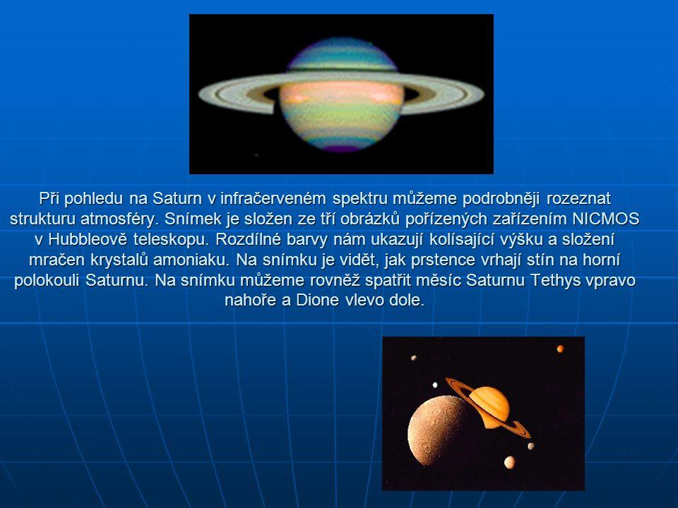 Při pohledu na Saturn v infračerveném spektru můžeme podrobněji rozeznat strukturu atmosféry. Snímek je složen ze tří obrázků pořízených zařízením NIC